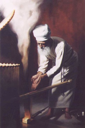 The High Priest offering the spices (ketoret) in the Holy of Holies inside the Holy Temple on the day of Yom Kippur -- painted for Beged Ivri, by Binyomin Allen